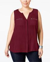 INC International Concepts Plus Size Split-Neck Zipper Blouse, Only at Macy's