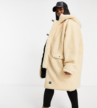 Sixth June Plus reversible oversized puffer coat in borg with hood
