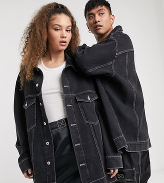 Collusion Unisex oversized branded denim jacket in black