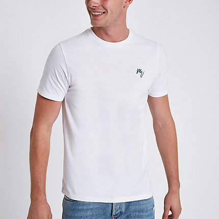 River Island Mens White slim fit embroidered crew neck T-shirt