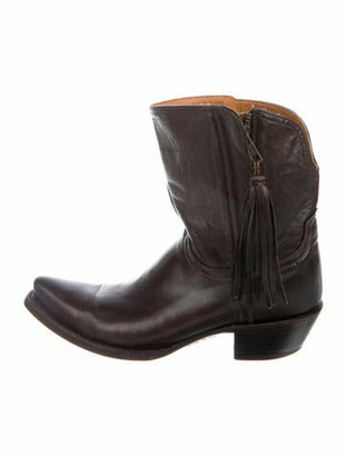 Lucchese Leather Tassel Accents Western Boots Brown