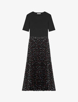 Thumbnail for your product : Maje Stretch-cotton and pleated woven midi dress