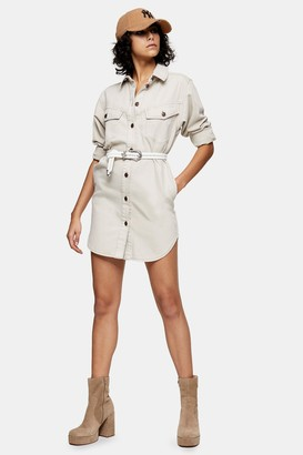 Topshop IDOL Gray Denim Sculpted Shirt Dress