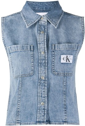 Calvin Klein Jeans Logo Patch Denim Shirt