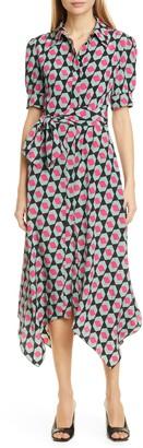 Diane von Furstenberg Kendyl Handkerchief Hem Print Silk Midi Shirtdress