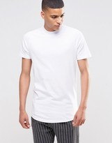 Selected Crew Neck T-Shirt With Turtleneck And Curved Hem