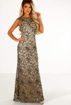 Pink Boutique America's Sweetheart Gold Embellished Maxi Dress