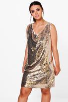 Boohoo Plus Emily Plunge Sequin Shift Dress