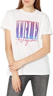 True Religion Women's True Logo Graphic Short Sleeve Crewneck Tee