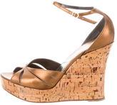 Christian Dior Metallic Platform Wedge Sandals