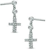 Zales Diamond Accent Cross Drop Earrings in Sterling Silver