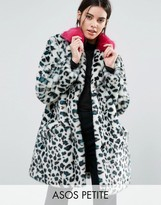 Asos Faux Fur Coat in Leopard Print with Bright Collar