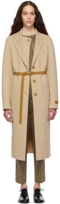 Helmut Lang Beige Double Lapel Coat