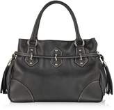 Buti Black Leather Shoulder Bag w/Tassels