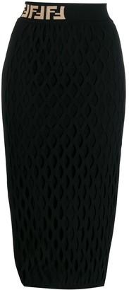 Fendi FF motif detail pencil skirt