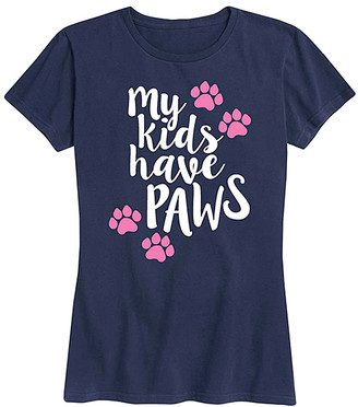 Instant Message Women's Women's Tee Shirts NAVY - Navy 'My Kids Have Paws' Relaxed-Fit Tee - Women