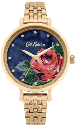 Cath Kidston Oxford Rose Navy Dial Gold Bracelet Ladies Watch