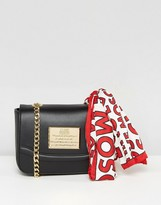 Love Moschino Clutch With Chain And Logo Scarf