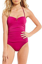 Tommy Bahama Pearl Solids V-Wire Bandeau Tummy Control One-Piece