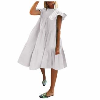 Needra Sales Women Summer Short Sleeve Solid Patchwork V Neck Casual Long Hooded Sweatershirt Dress