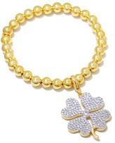 Jewels by Jen Polished Beaded Stretch Bracelet with 4-Leaf Charm