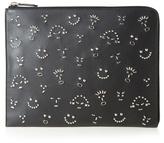 Fendi Faces-embellished Leather Document Holder