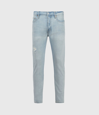 AllSaints Dean Damaged Slim Jeans, Light Indigo