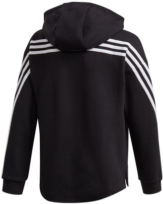 adidas Girls 3-Stripes Full Zip Hoodie - Black