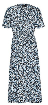 Dorothy Perkins Womens Multi Colour Tie Neck Shirred Midi Skater Dress