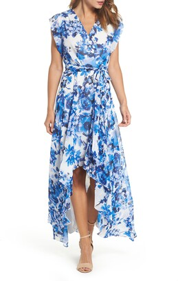 Eliza J Floral Ruffle High/Low Maxi Dress