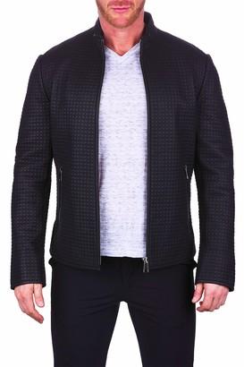 Maceoo Circle Embossed Leather Jacket