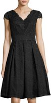 Chetta B Cap-Sleeve Lace Fit-and-Flare Dress, Black