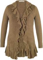 House of Fraser Chesca Mink Frill Edge Jacquard Tie Cardigan