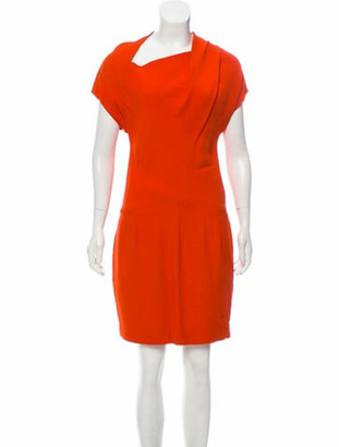 Narciso Rodriguez Short Sleeve Knee-Length Dress Orange