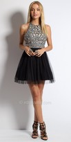 Camille La Vie Sequin Laser Cut Halter Homecoming Dress
