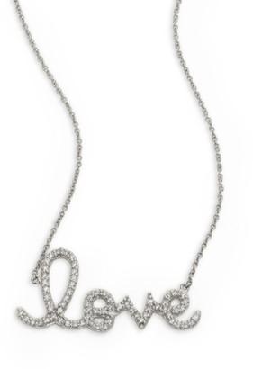 Sydney Evan Large Love Diamond & 14K White Gold Necklace