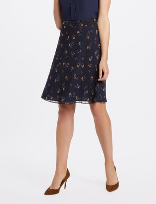 Draper James Floral Swiss Dot A-Line Skirt