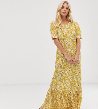 Vila volume sleeve floral maxi dress-Yellow