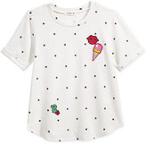 Monteau Polka-Dot Patches Sweater-Knit Top, Big Girls (7-16)