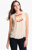 Vince Camuto 'Geo Stripe' Pleat Front Blouse