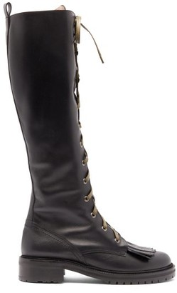 Tabitha Simmons Markie Lace-up Leather Knee-high Boots - Womens - Black