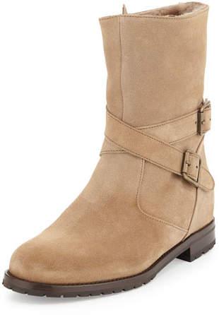 Manolo Blahnik Campocross Shearling-Lined Crisscross Buckle Boot
