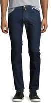 Jacob Cohen Dark-Wash Slim-Straight Jeans with Green Stitching, Blue