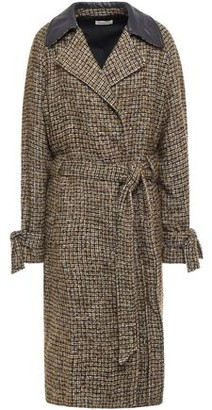 Masscob Cassandra Belted Leather-trimmed Checked Boucle-tweed Coat