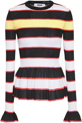 MSGM Ruffle-trimmed Striped Ribbed-knit Peplum Sweater