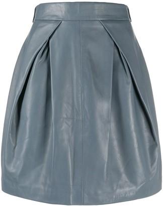 Alberta Ferretti Pleat Front Leather Skirt