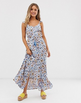 New Look frill strap maxi dress in blue floral
