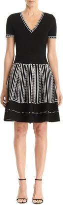 Carolina Herrera Short Sleeve V-Neck Fit & Flare Dress