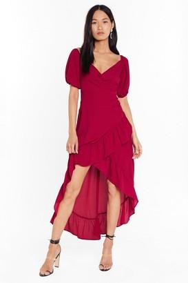 Nasty Gal Womens Frill the Morning Comes Ruffle Midi Dress - Burgundy