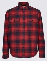 Marks and Spencer Fleece Lined Ombre Check Overshirt